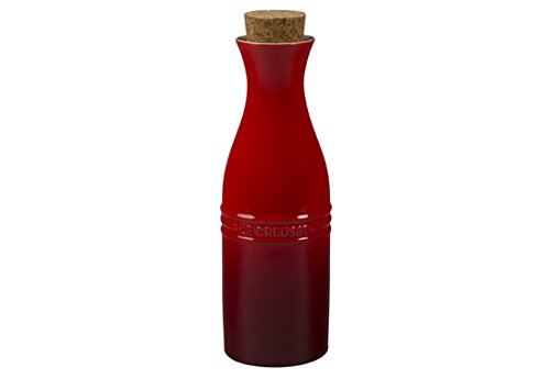 Le Creuset of America Stoneware Wine Carafe with Cork, 750ml, Cerise (Cherry Red) (750ml Wine Red)