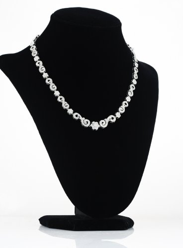 White Gold Plated (Rhodium Plated) 925 Sterling Silver with Pave Clear Cubic Zirconia (white CZ) Necklace in 16