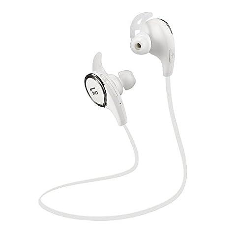 TaoTronics TT-BH06 WT Bluetooth Wireless Earphones with Bluetooth 4.1, Balanced Audio, Build-in Mic, aptX, CVC 6.0 Noise-Cancelling - (Taotronics Bluetooth Headphones)