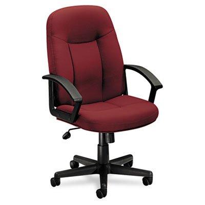 basyx VL601 Series Executive Mid-Back Swivel/Tilt Chair, Burgundy Fabric/Black Frame