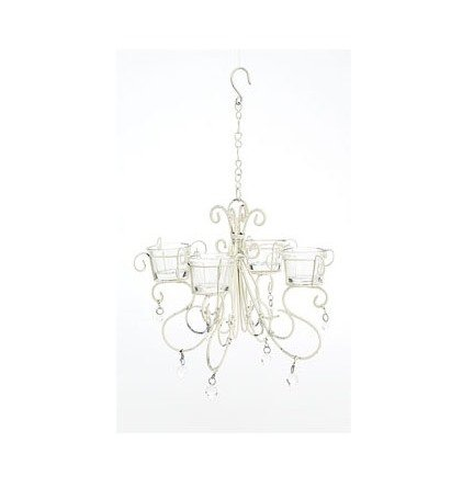 Small White Washed Votive Chandelier