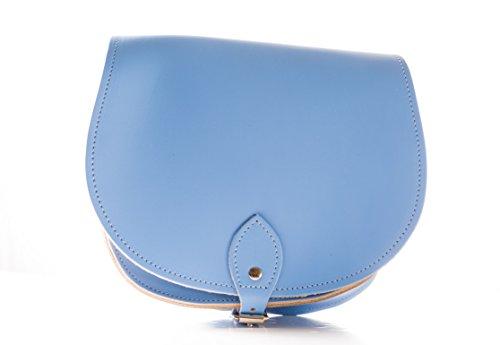 Glockenblumen-Blau Echtledersattel UmhŠngetasche Handtasche mit Schnallenverschluss und verstellbaren Riemen