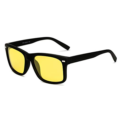 - Classic Night Vision Driving Sunglasses Vintage Unisex Square Fishing Glasses by Long Keeper (Yellow)