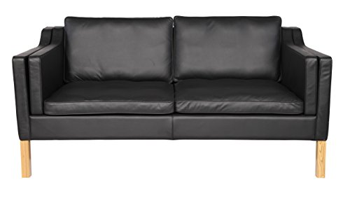 (MLF Mogensen 2213 2 Seater Living Room Sofa (Multi Colors Full Top Aniline Leather Nature Wood Base(Black))