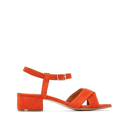 La Redoute Collections Womens Orange Leather Sandals with Crossover Straps Orange