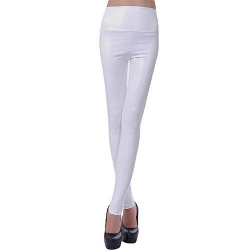 Amurleopard En Blanc Collant Femme Slim Pantalons Leggings Cuir Pu vxvqCwZ