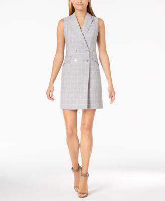 - Calvin Klein Women's Check Print Sleeveless Coat Dress CD8EV5PL Tin/Cream 8