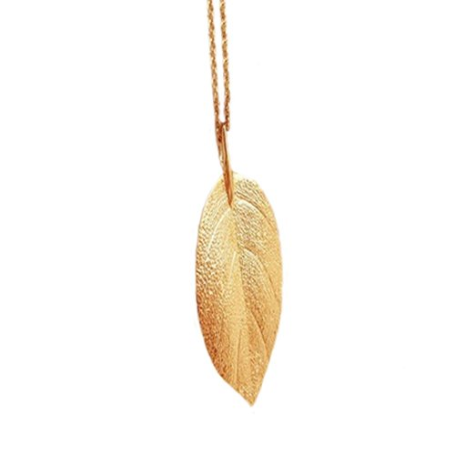 Katara Fashion Goldige Lange Chain Kette Blatt-Anh/Šnger Charm Lange Halskette