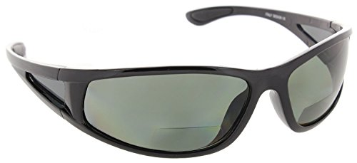 cc8226b34e0 Fiore Oceanside Polarized Wrap Nearly Invisible Line Bifocal Sunglass  Readers  Black