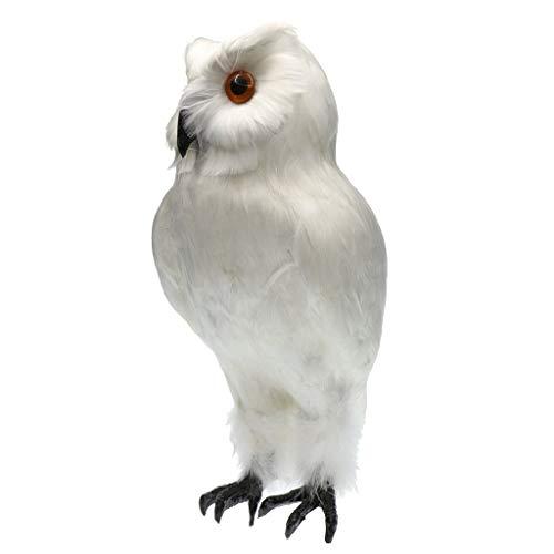 KODORIA Artificial Feathered Owl Realistic Bird Decoration Taxidermy Garden Decor - White 1 (Ornaments Owl White Feathered)
