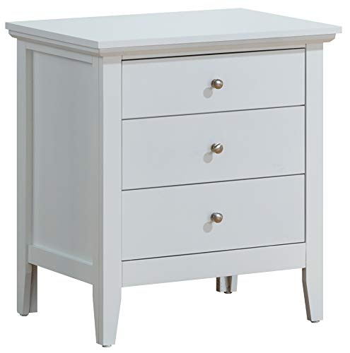 "Glory Furniture Hammond Fully Assembled White - Top Quality Wood 3 Drawer Luxury Bedroom Furniture Nightstand, 26"" H x 24"" W x 18"" D,"