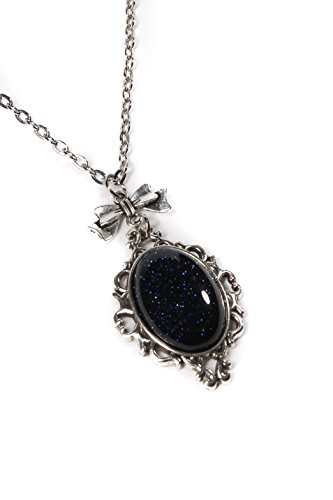 Project Pinup Blue Goldstone 18x25mm Cameo Silver Filigree Necklace w/Bow on 18