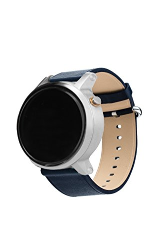 Hamilton Technology Metal (Smart Watch Band 16mm, Aisun Vintage Top-Grain Leather Watch Band Replacement Wrist Strap with Metal Clasp for moto 360 2nd Gen (Moto 360 2nd-Dark Blue16mm 42mm))