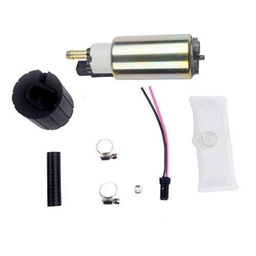 PLDDE New 1pc 12V High Performance Electric Gas Intank EFI Fuel Pump With Filter/Strainer+Clamps+Rubber Hose+Isolator+Wiring Plug Replacement Kit Fit Acura Ford Mercury Lincoln Mazda Nissan Jaguar Kia