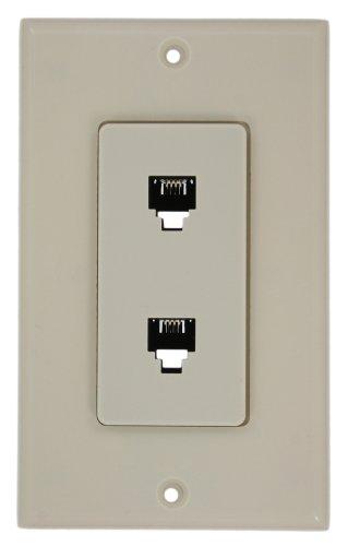Leviton 40144-T Decora Telephone Wall Jack Assembly, Light -