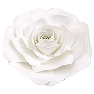 DecorInTheBox Large Paper Flower 30cm (12 inch) Wedding Photography Flower Backdrop, Birthday Wall Decor, Fully Assembled (White) 44