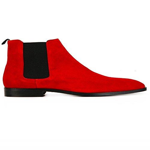 Jinfu Chelsea Boots Menns Semsket Tilfeldige Røde Støvler Ankelstøvletter Formelle Sko