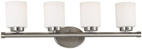 Kenroy Home 80404BS Mezzanine Four-Light Vanity Light with 6-Inch White Glass Shades, Brushed Steel