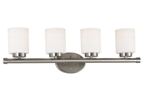 Kenroy Home 80403BS Mezzanine Three-Light Vanity Light with 6-Inch White Glass Shades, Brushed Steel