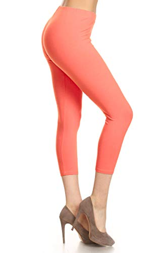 Leggings Depot Women's Premium Cotton Soft Capri Yoga Pants NCL27