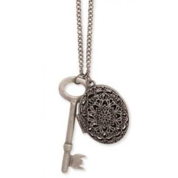 Zad Jewelry Vintage Look Large Key and Oval Filigree Cutout Locket Charm Necklace, 34