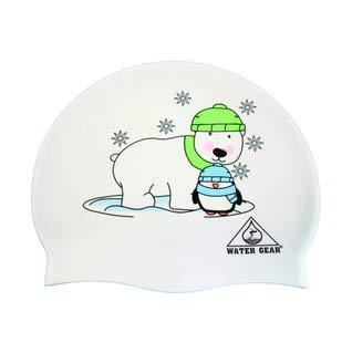 r and Penguin Graphic Silicone Swim Cap,White,One Size ()