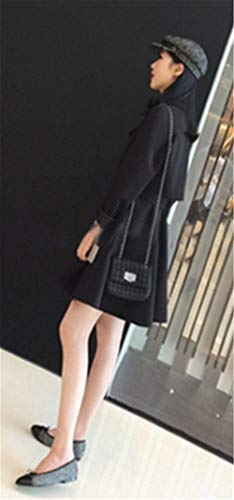 Coat Bavero Laterali Vento Lunga Semplice Manica Double Tasche Breasted Eleganti Glamorous Cintura Giacca Schwarz Invernali Inclusa Outwear Donna Trench Confortevole w8Ixq1azz