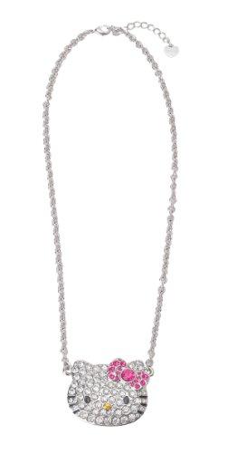 Hello Kitty Diecut Rhinestone Necklace With Bigger Pendant