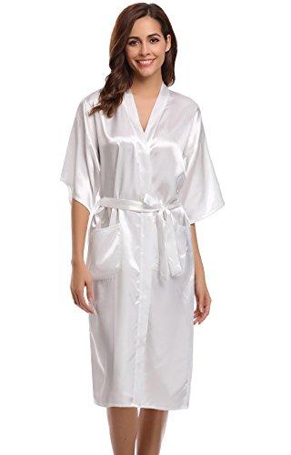 Satin Long Gown (Aibrou Women's Kimono Robe Dressing Gown Long Classic Satin Wedding Nightwear)