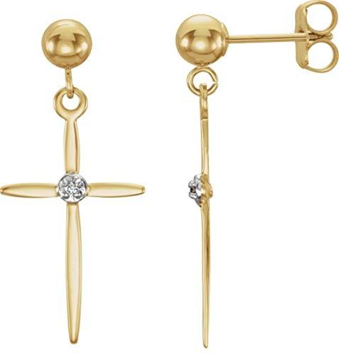 14K Two-Tone Gold Crucifix Earrings