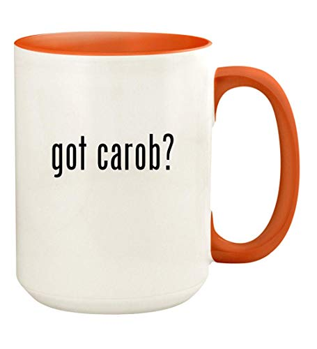 got carob? - 15oz Ceramic Colored Handle and Inside Coffee Mug Cup, Orange