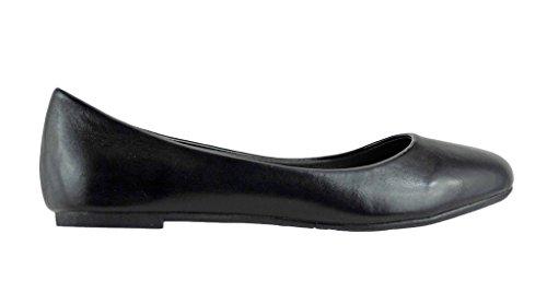 Pierre Dumas Kvinna Brita-1 Vegan Läder Rund Tå Slip-on Mode Klänning Balett Lägenheter Svart