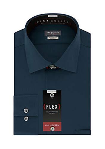 (Van Heusen Men's Dress Shirt Regular Fit Flex Collar Stretch Solid, Petrol, 18
