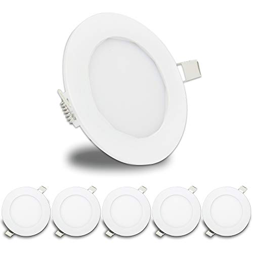 LeisureLED 5 Pack RV Boat Recessed Ceiling Light 480 Lumen Super Slim LED Panel Light DC 12V 4.75
