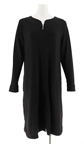 Carole Hochman French Terry Zip Up Robe Black M New A302155 (French Terry Robes)