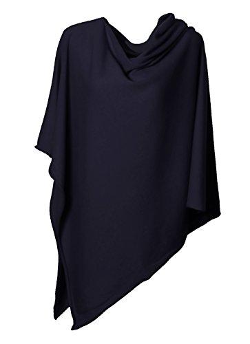 Anna Kristine Asymmetrical 100% Cashmere Draped Poncho Topper - Navy Blue by Anna Kristine (Image #4)