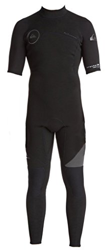 Quiksilver Mens 2/2mm Syncro Back Zip Full FLT Short Sleeve Steamer Wetsuit, Black, X-Small