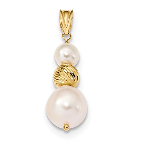 ICE CARATS 14kt Yellow Gold 10mm White Round Freshwater Cultured Pearl Pendant Charm Necklace Fine Jewelry Ideal Gifts For Women Gift Set From Heart