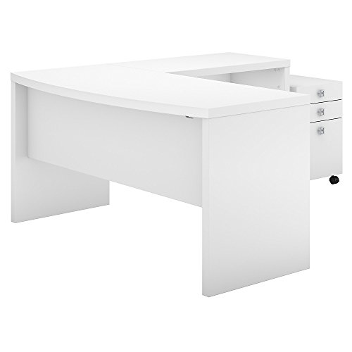 - Office by kathy ireland Echo L Shaped Bow Front Desk with Mobile File Cabinet in Pure White