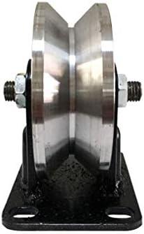 V溝キャスタースライディングゲートシーブトラックローラーブラケット付き、頑丈な納屋のドアの堅いスチールホイール、反転トラック用ハードウェア、ローリングゲート、産業機械、ワイヤーロープレール、1個(150mm / 6インチ)
