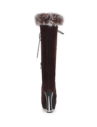 À Marron Eu37 Femme Mode Uk4 us6 Arrondi Black Bout Chaussures 5 7 Laine Synthétique Xzz Noir Bottes Talon 5 Cn37 La Décontracté 5 Habillé Gros XPOxAR