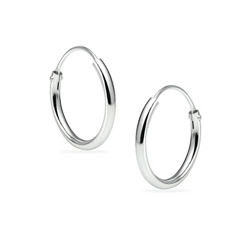Sterling Silver Tiny Small Endless 1.2mm x 12mm Round Unisex Hoop Earrings Assorted Colors