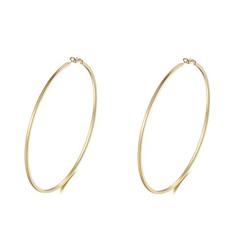Extra Large Hoop Earrings for Women Square Line Round Gold Hoops 100mm
