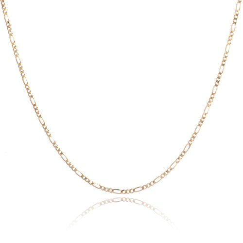 18 Inch 10k Yellow Gold Figaro Chain Necklace with Concave Look, 0.1 Inch (2.5mm) - 10k Yellow Gold Figaro Necklace