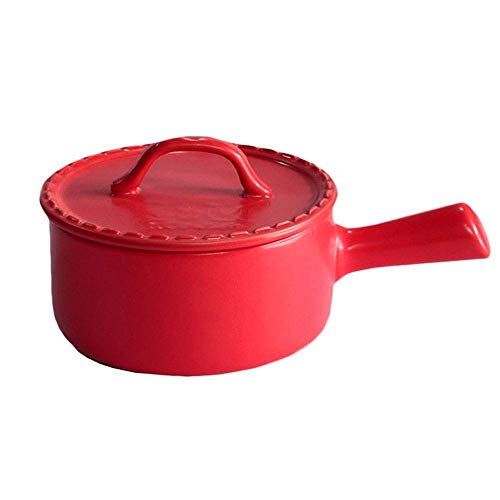 Yyqtng Red Milk Pot, Ceramic Coated Non-Stick Hot Milk Pot with Lid Long Handle Home Small Soup Pot