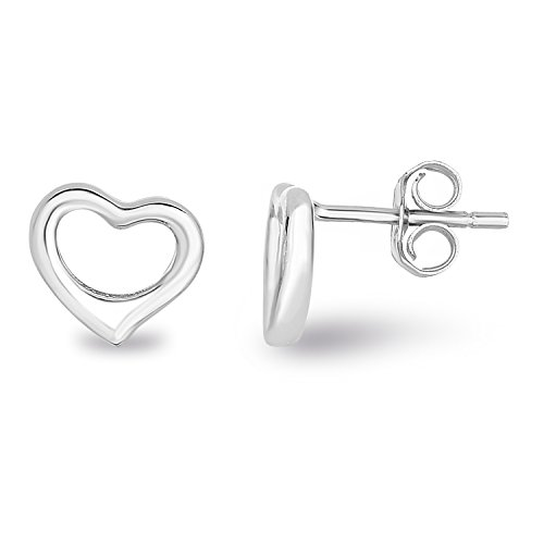 (Spoil Cupid 925 Sterling Silver Plain Hollow Love Heart Small Stud)