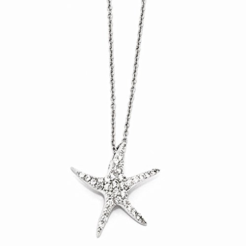 925 Sterling Silver Cubic Zirconia Cz Starfish 18 Inch Chain Necklace Pendant Charm Sea Life Fine Jewelry For Women Gift Set