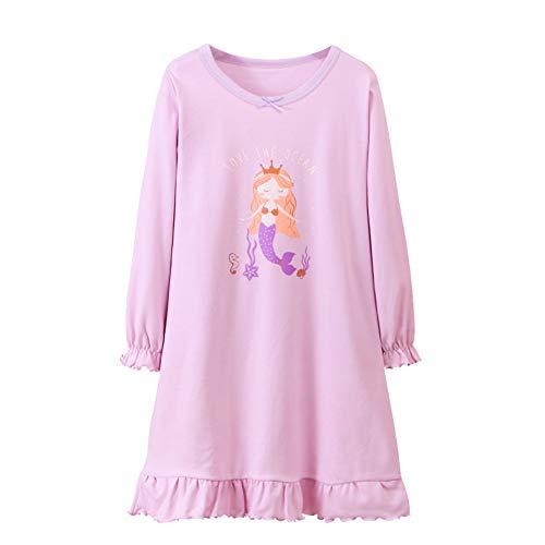 DGAGA Nightgown for Girls, Kids Unicorn Mermaid Nightdress Princess Nightie Dresses Sleepwear Pajamas 3-4 Years(110cm, purple)