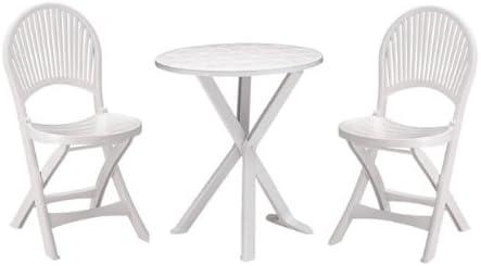 SAT mesa y 2 sillas para jardín y terraza y balcón (plástico ...