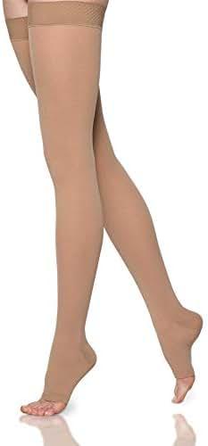 SIGVARIS Women's Essential Opaque 860 Open Thigh-Highs w/Grip Top 20-30mmHg